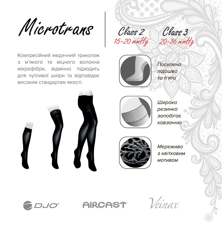 Гольфи компресійні медичні Microtrans Мікрофібра 1 клас (чорні) (881R-BK/1)